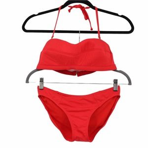 Athleta Bandeau Halter Bikini Set Red Textured Convertible 490613 489358 Small